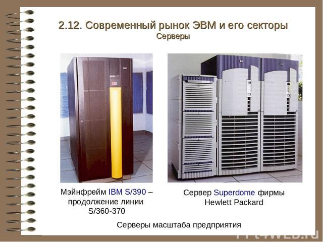 Серверы масштаба предприятия Мэйнфрейм IBM S/390 – продолжение линии S/360-370 Сервер Superdome фирмы Hewlett Packard 2.12. Современный рынок ЭВМ и его секторы Серверы