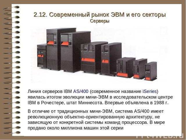 Линия серверов IBM AS/400 (современное название iSeries) явилась итогом эволюции мини-ЭВМ в исследовательском центре IBM в Рочестере, штат Миннесота. Впервые объявлена в 1988 г. В отличие от традиционных мини-ЭВМ, система AS/400 имеет революционную …