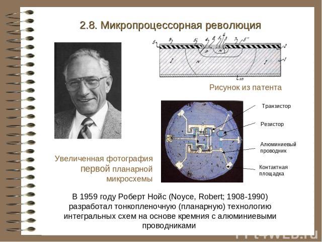 В 1959 году Роберт Нойс (Noyce, Robert; 1908-1990) разработал тонкопленочную (планарную) технологию интегральных схем на основе кремния с алюминиевыми проводниками 2.8. Микропроцессорная революция Рисунок из патента Увеличенная фотография первой пла…