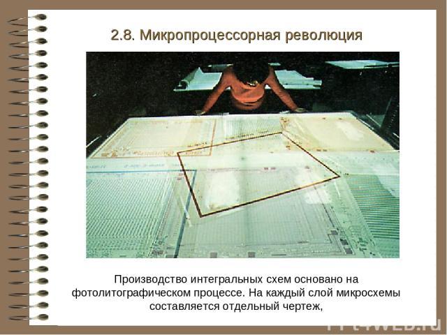 2.8. Микропроцессорная революция Производство интегральных схем основано на фотолитографическом процессе. На каждый слой микросхемы составляется отдельный чертеж,