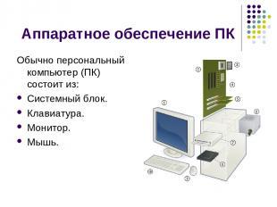 Аппаратное обеспечение ПК Обычно персональный компьютер (ПК) состоит из: Системн