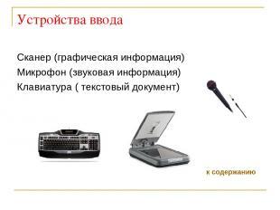 Устройства ввода Сканер (графическая информация) Микрофон (звуковая информация)
