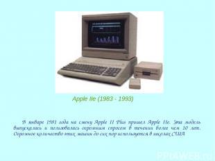 В январе 1981 года на смену Apple II Plus пришел Apple IIe. Эта модель выпускала