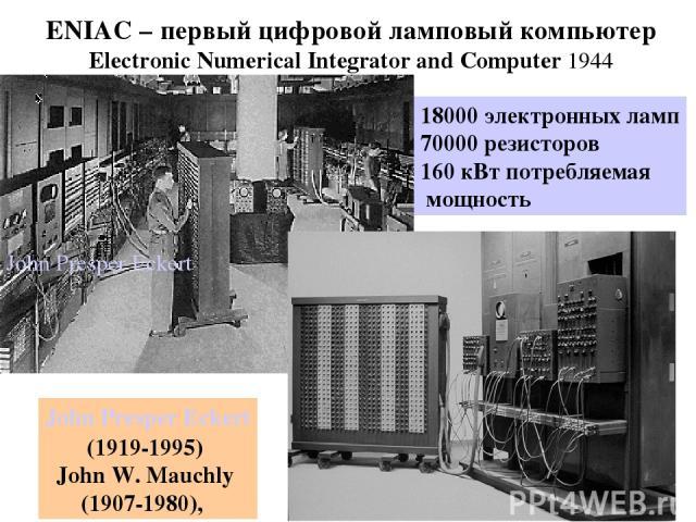 ENIAC – первый цифровой ламповый компьютер Electronic Numerical Integrator and Computer 1944 18000 электронных ламп 70000 резисторов 160 кВт потребляемая мощность John Presper Eckert John Presper Eckert (1919-1995) John W. Mauchly (1907-1980),