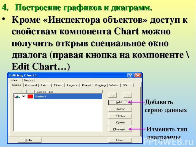 Построение графиков и диаграмм. Кроме «Инспектора объектов» доступ к свойствам компонента Chart можно получить открыв специальное окно диалога (правая кнопка на компоненте \ Edit Chart…) Добавить серию данных Изменить тип диаграммы