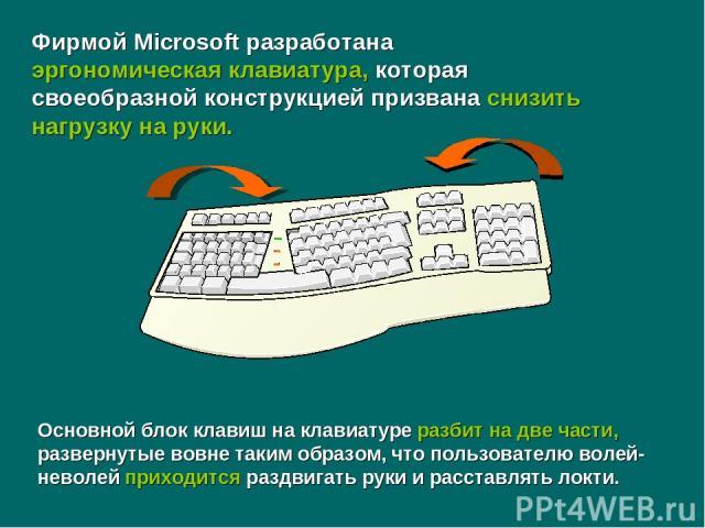 Основной блок клавиш на клавиатуре разбит на две части, развернутые вовне таким образом, что пользователю волей-неволей приходится раздвигать руки и расставлять локти. Фирмой Microsoft разработана эргономическая клавиатура, которая своеобразной конс…