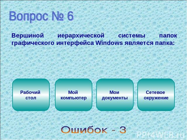 Вершиной иерархической системы папок графического интерфейса Windows является папка: Рабочий стол Мой компьютер Мои документы Сетевое окружение
