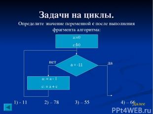 Задачи на циклы. Определите значение переменной с после выполнения фрагмента алг