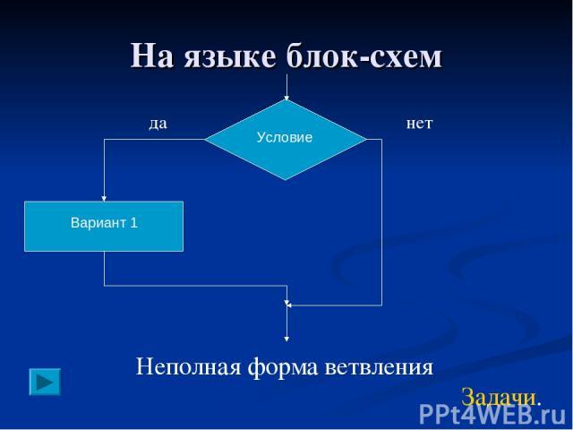 На языке блок-схем Вариант 1 Условие Неполная форма ветвления да нет Задачи.