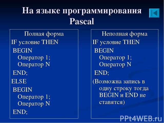 На языке программирования Pascal Полная форма IF условие THEN BEGIN Оператор 1; Оператор N END; ELSE BEGIN Оператор 1; Оператор N END; Неполная форма IF условие THEN BEGIN Оператор 1; Оператор N END; (Возможна запись в одну строку тогда BEGIN и END …