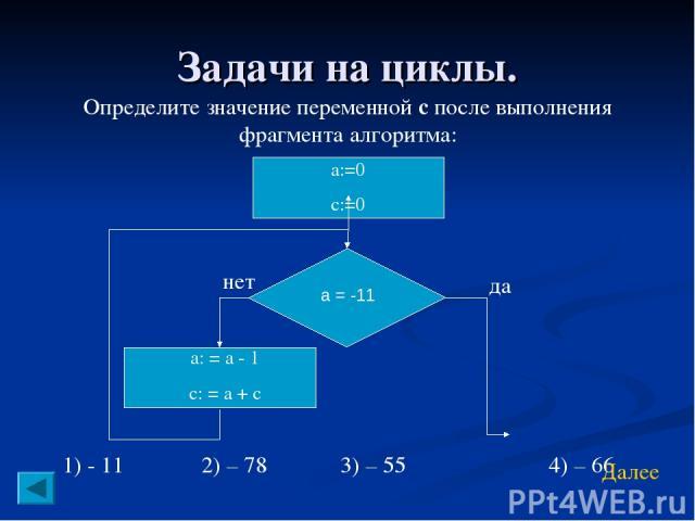 Задачи на циклы. Определите значение переменной с после выполнения фрагмента алгоритма: 1) - 11 2) – 78 3) – 55 4) – 66 Далее