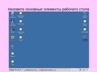 Назовите основные элементы рабочего стола