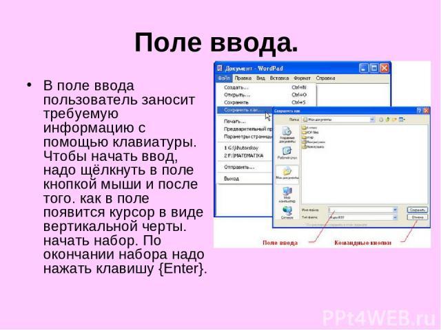Поле ввода. В поле ввода пользователь заносит требуемую информацию с помощью клавиатуры. Чтобы начать ввод, надо щёлкнуть в поле кнопкой мыши и после того. как в поле появится курсор в виде вертикальной черты. начать набор. По окончании набора надо …