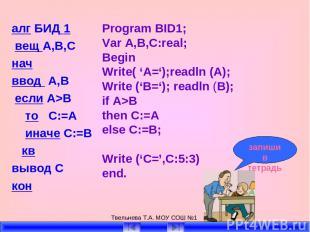 Твельнева Т.А. МОУ СОШ №1 алг БИД 1 вещ А,В,С нач ввод А,В если А>B то C:=A инач