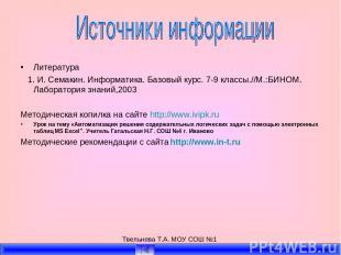 Твельнева Т.А. МОУ СОШ №1 Литература 1. И. Семакин. Информатика. Базовый курс. 7