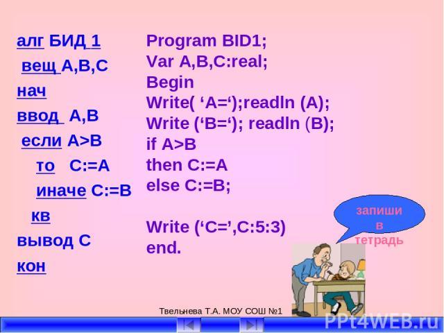 Твельнева Т.А. МОУ СОШ №1 алг БИД 1 вещ А,В,С нач ввод А,В если А>B то C:=A иначе C:=B кв вывод С кон Program BID1; Var A,B,C:real; Begin Write( 'A=');readln (A); Write ('B='); readln (B); if A>B then C:=A else C:=B; Write ('C=',C:5:3) end. запиши в…