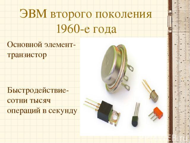 ЭВМ второго поколения 1960-е года Основной элемент-транзистор Быстродействие-сотни тысяч операций в секунду