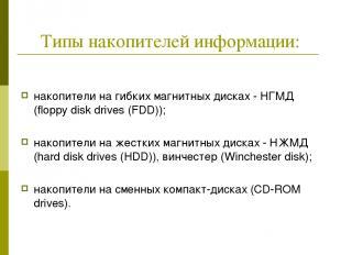 Типы накопителей информации: накопители на гибких магнитных дисках - НГМД (flopp