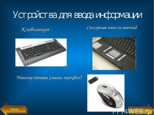 Устройства для ввода информации Клавиатура Сенсорные панели тачпад Манипуляторы