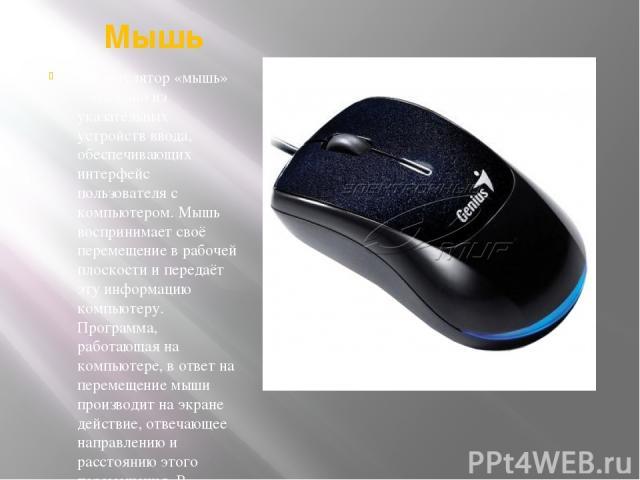 Мышь Манипулятор «мышь» – это одно из указательных устройств ввода, обеспечивающих интерфейс пользователя с компьютером. Мышь воспринимает своё перемещение в рабочей плоскости и передаёт эту информацию компьютеру. Программа, работающая на компьютере…