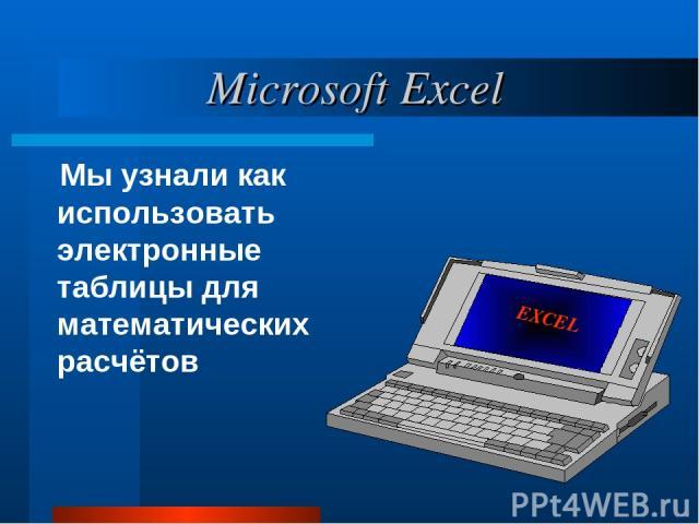 Мы узнали как использовать электронные таблицы для математических расчётов Microsoft Excel