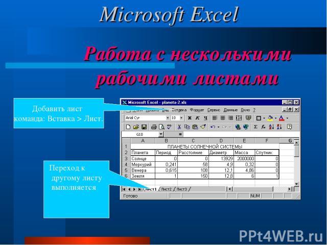 Работа с несколькими рабочими листами Переход к другому листу выполняется щелчком на ярлыке. Добавить лист команда: Вставка > Лист. Microsoft Excel