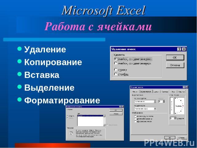 Работа с ячейками Удаление Копирование Вставка Выделение Форматирование Microsoft Excel