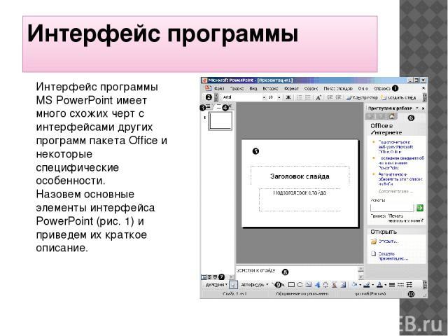 Интерфейс программы Интерфейс программы MS PowerPoint имеет много схожих черт с интерфейсами других программ пакета Office и некоторые специфические особенности. Назовем основные элементы интерфейса PowerPoint (рис. 1) и приведем их краткое описание.