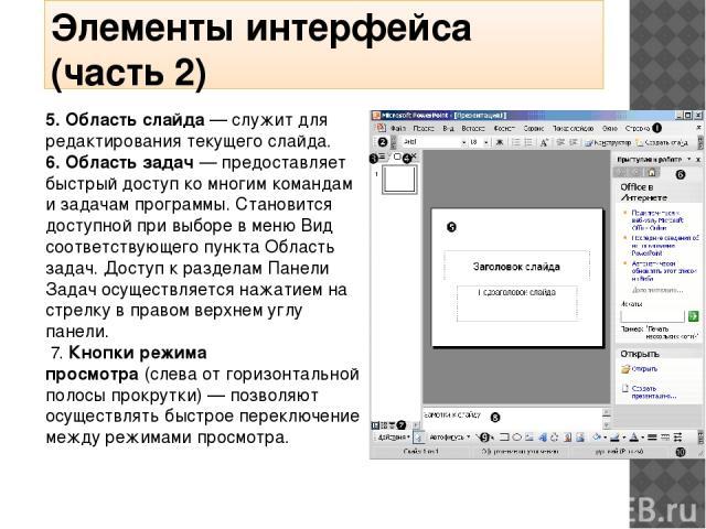 Элементы интерфейса (часть 2) 5. Область слайда— служит для редактирования текущего слайда. 6. Область задач— предоставляет быстрый доступ ко многим командам и задачам программы. Становится доступной при выборе в меню Вид соответствующего пункта О…