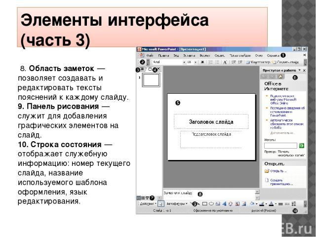 Элементы интерфейса (часть 3) 8. Область заметок— позволяет создавать и редактировать тексты пояснений к каждому слайду. 9. Панель рисования— служит для добавления графических элементов на слайд. 10. Строка состояния— отображает служебную информ…