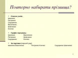 * Повторно набирати прізвища? Список учнів: Іваненко Петренко Сидоренко Василенк