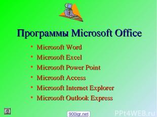 Программы Microsoft Office Microsoft Word Microsoft Excel Microsoft Power Point