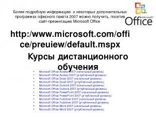 Курсы дистанционного обучения Microsoft Office Access 2007 (начальный уровень) M