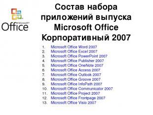 Microsoft Office Word 2007 Microsoft Office Excel 2007 Microsoft Office PowerPoi