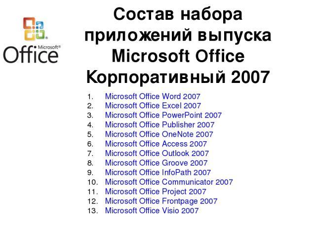 Microsoft Office Word 2007 Microsoft Office Excel 2007 Microsoft Office PowerPoint 2007 Microsoft Office Publisher 2007 Microsoft Office OneNote 2007 Microsoft Office Access 2007 Microsoft Office Outlook 2007 Microsoft Office Groove 2007 Microsoft O…