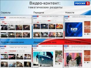 Видео-контент: тематические разделы Сериалы Документальное кино Новости Художест
