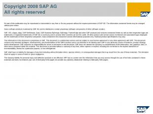 Copyright 2008 SAP AG All rights reserved No part of this publication may be rep