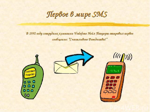 """Первое в мире SMS В 1992 году сотрудник компании Vodafone Нейл Папуорт отправил первое сообщение: """"Счастливого Рождества!"""""""