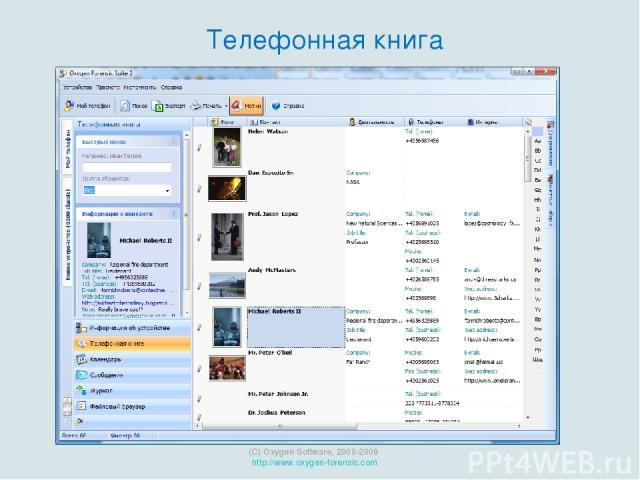 (C) Oxygen Software, 2000-2009 http://www.oxygen-forensic.com Телефонная книга