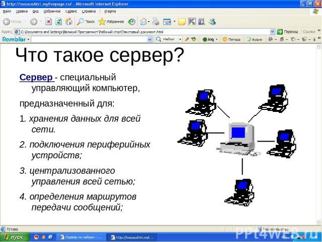 Что такое сервер? Сервер - специальный управляющий компьютер, предназначенный для: 1. хранения данных для всей сети. 2. подключения периферийных устройств; 3. централизованного управления всей сетью; 4. определения маршрутов передачи сообщений;