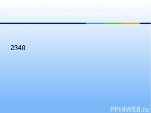 Диаграмма 3. Суточные нормы белков, жиров, углеводов в рационе школьника (11-15