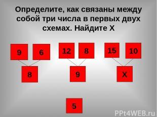 Определите, как связаны между собой три числа в первых двух схемах. Найдите Х 15