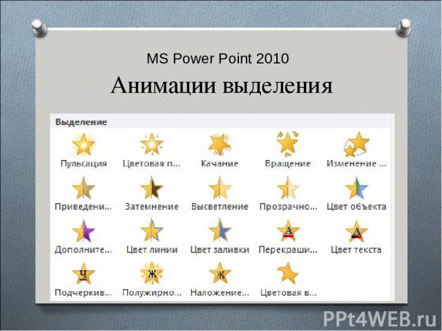 MS Power Point 2010 Анимации выделения