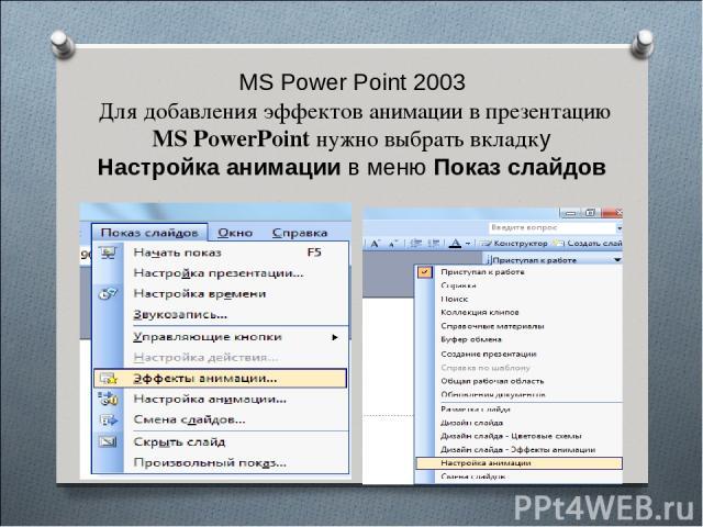 MS Power Point 2003 Для добавления эффектов анимации в презентацию MS PowerPoint нужно выбрать вкладку Настройка анимации в меню Показ слайдов