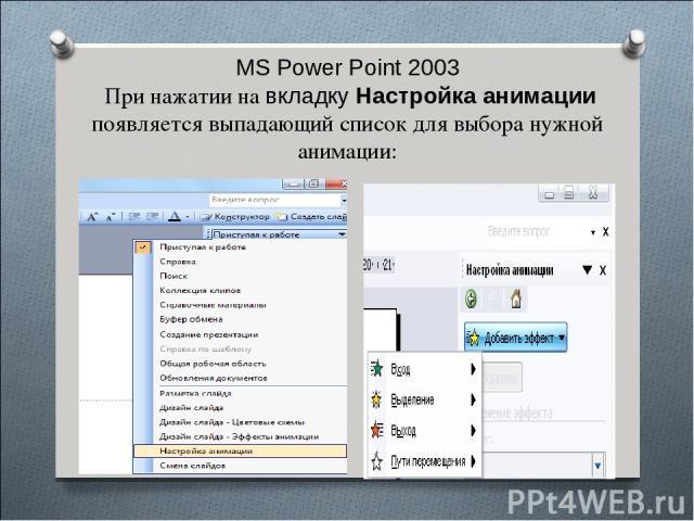 MS Power Point 2003 При нажатии на вкладку Настройка анимации появляется выпадающий список для выбора нужной анимации: