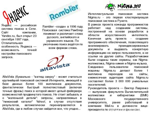 Яндекс — российская система поиска в Сети. Сайт компании, Yandex.ru, был открыт 23 сентября 1997 года. Отличительная особенность Яндекса — возможность точной настройки поискового запроса. Rambler –создан в 1996 году. Поисковая система Рамблер понима…