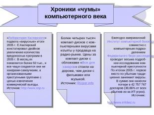«Лаборатория Касперского» подвела «вирусные» итоги 2005 г. Е.Касперский констати