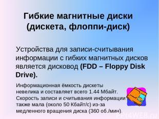 Гибкие магнитные диски (дискета, флоппи-диск) Устройства для записи-считывания и