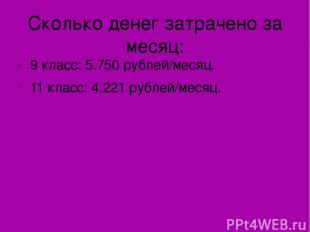 Сколько денег затрачено за месяц: 9 класс: 5.750 рублей/месяц. 11 класс: 4.221 р