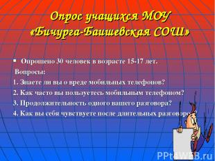 Опрос учащихся МОУ «Бичурга-Баишевская СОШ» Опрошено 30 человек в возрасте 15-17